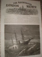 Sinking of the SS Hibernia from a survivors sketch 1868 old print ref W1