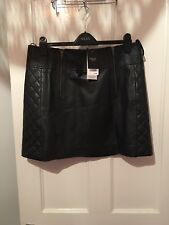 BNWT Next Leather Mini Skirt RRP £150 Size 14 Real Leather Black (g12)