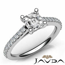 Asscher Diamond Shiny Engagement Prong Set Ring GIA F VVS2 18k White Gold 1.01Ct