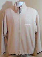 Vtg Chaps Ralph Lauren 90's Mens Full Zip Spell Out Fleece Jacket Large Beige FS