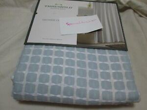 New Threshold Quality & Design Fabric Shower Curtain HONEYCOMB ~  Blue and White