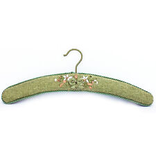 Handmade flax corded coat hanger with ribbon embroidery green colour