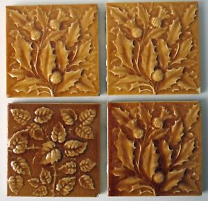 """Vintage Majolica 6"""" Tile Holly and Berries and Leaves - 4"""