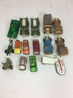 Lot of 15 Vintage Diecast Toy Cars Trucks Tootsie Toy & MatchBox Lesney 60-70's