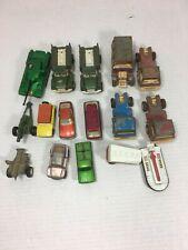 Lot of 15 Vintage Diecast Toy Cars Trucks Tootsie Toy & MatchBox Lesney 60-70's