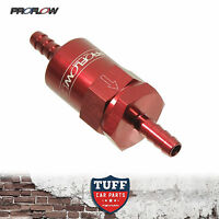 "Proflow Competition Billet Reusable Fuel Filter 30 Micron Red 3/8"" Barb In & Out"
