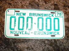 1978 NEW BRUNSWICK SAMPLE LICENSE PLATE 0000