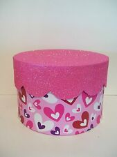 9 IN RED WHITE PURPLE PINK GLITTER CUPCAKE VALENTINE'S DAY CONTAINER DECORATION