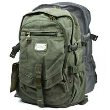 Durable Military Canvas Backpack School Bag Bookbag Hiking Travel Womens Mens