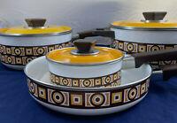 Vintage 7pc Enamel Cookware Set Pan Pot Floral Yellow Brown Flower Retro Kitchen