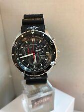 Citizen Men's Eco-Drive Chronograph Tachymeter Black Rubber Strap Watch H500