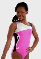 Gabrielle Douglas GK ELITE Gymnastics Leotard SILVERY White PINK Black GABBY  AS