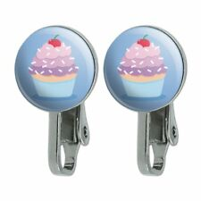 Cute Cupcake Vanilla Cherry with Sprinkles Novelty Clip-On Stud Earrings
