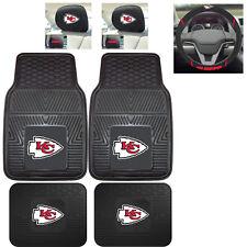 7pc NFL Kansas City Chiefs Heavy Duty Rubber Floor Mats & Steering Wheel Cover