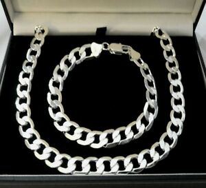 Mens Polished 925 Silver Filled Plated 10mm Curb Necklace Chain Bracelet Set