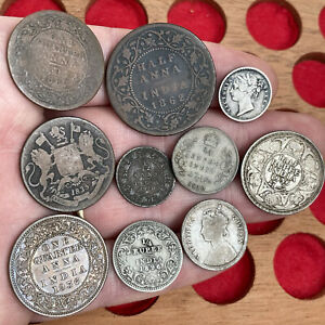 India / Easy India Company Silver & Other Coins, 19th Century & Later. 10 Coins.