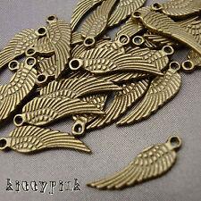 30 Antique Gold Bronze Angel Bird Kitsch Wing Charms Vintage