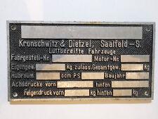 Typenschild HÄNDLERSCHILD SAALFELD DIETZEL Traktor ANHÄNGER DDR LANDMASCHINEN