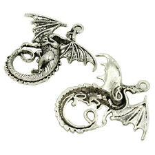 5pc Vintage Silver Alloy Dragon Shape Charms Pendants Jewellery Beading Craft BS