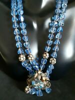 1940s Vtg Early Miriam Haskell Blue Faceted Glass & OB Bead Pendant Necklace 15""