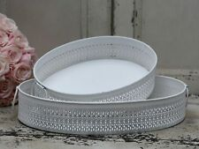 Lace Side Effect Metal Handle Tray Antique White Vintage Style Dressing Table