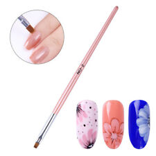 Drawing Flat Brush Powder Clean Pen Nail Edge Cuticle Pink Handle Nail Art Tools