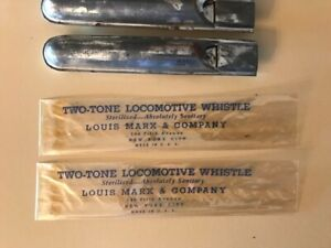 Marx Vintage two tone toy tin train whistle & wrapper, Estate Sale Find NR !