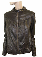 LADIES FAUX LEATHER JACKET in Dark Chocolate COLOR New Look SIZE 10/ 38 (D-16)