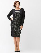 Lane Bryant Women's Black Cutout Dress with Sequins Size 20