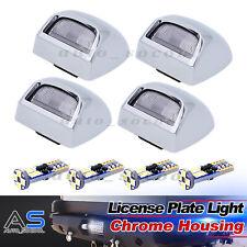 4 X White LED Bulb Chrome Lens License Plate Lights Cover Set GMC Pickup Chevy