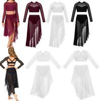 Girls Lyrical Ballet Dance Dress Kids Leotard Gym Crop Top+Tulle Skirt Costume