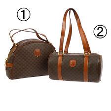 Auth CELINE Macadam Hand Shoulder Bag Purse 2 Set Brown PVC Leather VTG A34259