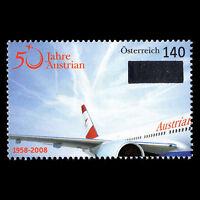 Austria 2008 - 50th Anniv of Austrian Airlines Aviation Airliner - Sc 2142 MNH