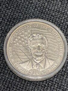 2000 Liberia George W Bush $10 Presidents of the USA 36mm Copper-Nickel Coin