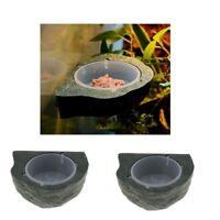 2x Gecko Ledge - Magnetic Gecko Diet Feeder Water Bowl - Natural Rock Look