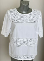M&S Collection Size 14 16 White Broderie Anglaise Short Sleeve Top Blouse Bnwt