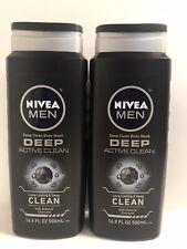 (2) NIVEA Men Deep Clean Active Body Wash W/Natural Charcoal-16.9oz. Each