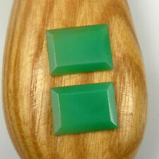 Pair Rectangular 14.5x11mm Cut Natural Aus Chrysoprase Loose Gemstone, Qty = 2