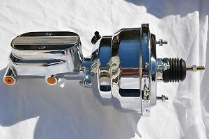 "8"" Street Rod Dual Power Brake Booster w/ Center Finned Master Cylinder CHROME"