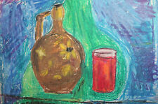 Expressionist still life pastel painting