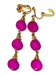 Long Gold Pink Clip-On Earrings Drop Dangle Frosted Glass Bead Gypsy Chic Classy