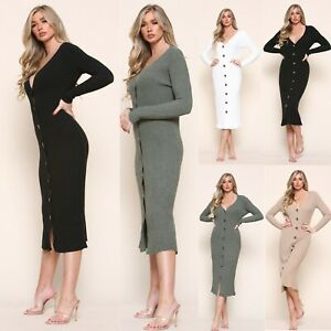 Women's Button Up Knitted Midi Dress Ladies V Neck Winter Ribbed Dresses