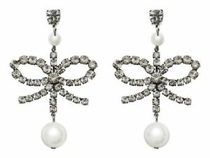 NEW ERDEM x H&M Rhinestone Clip On Crystal Pearl Earrings Silver ORIGINAL BOX