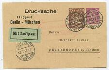 Deutsches Reich Luftpost Privat GA Postkarte Berlin München Deisenhofen 1923