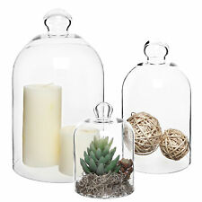 Set of 3 Clear Glass Apothecary Cloche Bell Jars / Centerpiece Dome Display
