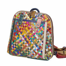 Colorful Natural Cow Genuine Leather Weave Womens Backpack Cowhide Shoulder Bag