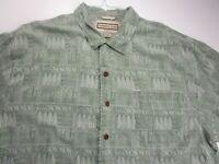 Jamaica Jaxx Button Up Shirt Adult 2XL XXL Green Silk Short Sleeve Camp Tropic *