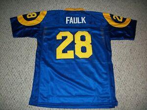 MARSHALL FAULK Unsigned Custom St. Louis Blue Sewn New Football Jersey Sze S-3XL