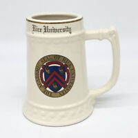 "Vintage RICE UNIVERSITY 6"" inch Ceramic Beer Mug Stein TavernTrove Cream Color"
