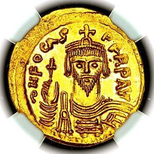 602-610 AD Phocas Byzantine Empire Constantinople Gold AV Solidus NGC MS 4/5 5/5
